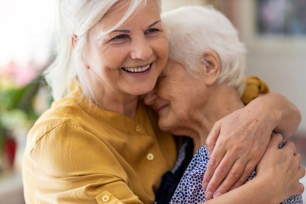 Dementia caregiver with loved one